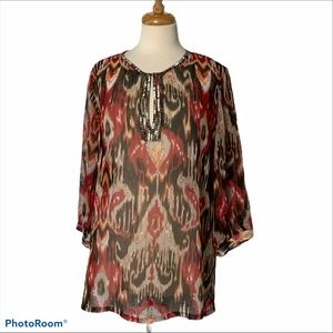CHICO'S 3/4 Sleeve Beaded Top - Large